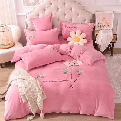 2021新款牛奶绒毛巾绣四件套-绣球花系列 1.8米床单款四件套 绣球花-粉色