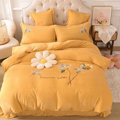 2021新款牛奶绒毛巾绣四件套-绣球花系列 1.8米床单款四件套 绣球花-黄色
