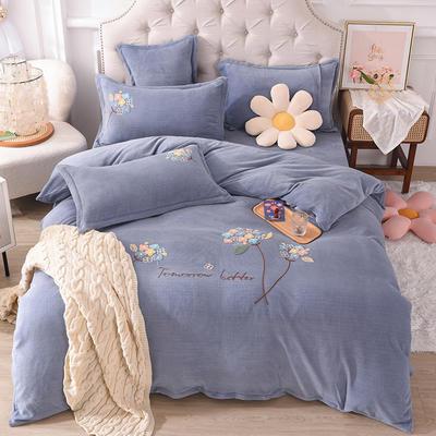 2021新款牛奶绒毛巾绣四件套-绣球花系列 1.8米床单款四件套 绣球花-灰色