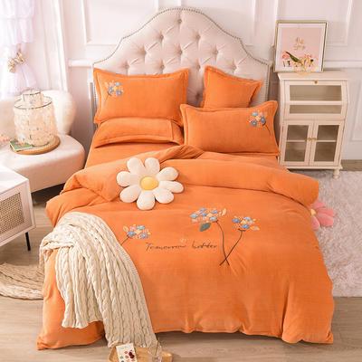 2021新款牛奶绒毛巾绣四件套-绣球花系列 1.8米床单款四件套 绣球花-橘色