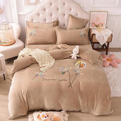 2021新款牛奶绒毛巾绣四件套-绣球花系列 1.8米床单款四件套 绣球花-卡其