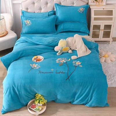 2021新款牛奶绒毛巾绣四件套-绣球花系列 1.8米床单款四件套 绣球花-孔蓝