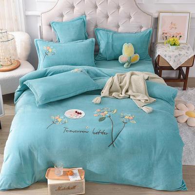 2021新款牛奶绒毛巾绣四件套-绣球花系列 1.8米床单款四件套 绣球花-水蓝