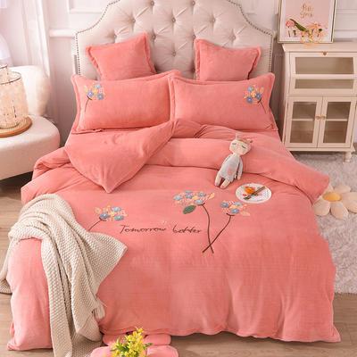 2021新款牛奶绒毛巾绣四件套-绣球花系列 1.8米床单款四件套 绣球花-玉色