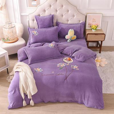 2021新款牛奶绒毛巾绣四件套-绣球花系列 1.8米床单款四件套 绣球花-紫色