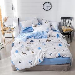 璞树家居 水洗棉印花四件套 1.2m(4英尺)床 清语-蓝