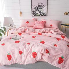 璞树家居 水洗棉印花四件套 1.2m(4英尺)床 草莓布丁