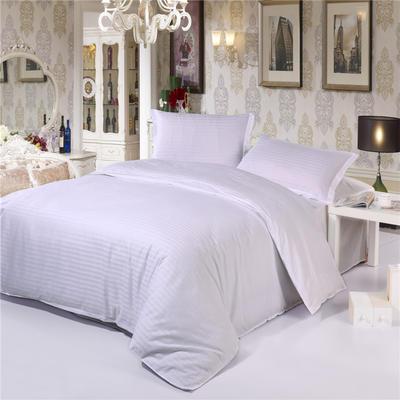 全棉缎条四件套床单款  纯色 床上用品 0.9-1.0米床适用(四件套) 白色