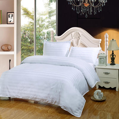 全棉缎条四件套床笠款  纯色 床上用品 1.2米床适用(四件套) 三公分白