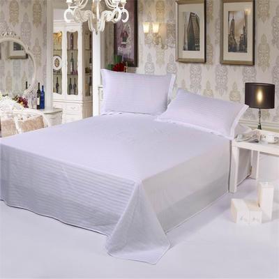 全棉缎条单品系列 床单 纯色 床上用品 140*230cm 白色