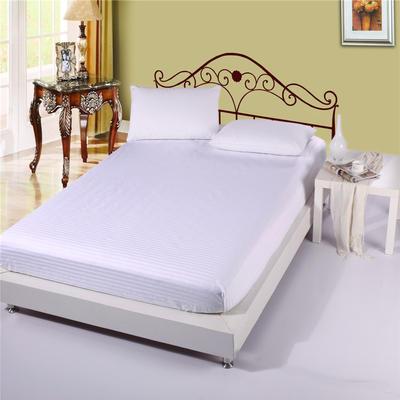 全棉缎条单品系列 床笠 床罩 纯色 100cmx200cm+30 白色