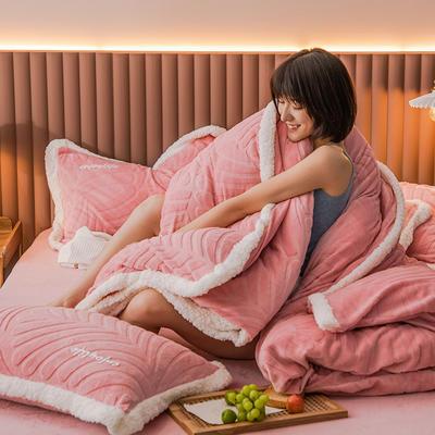 2020新品600D牛奶绒立体剪花烫花四件套 1.8m床单款四件套 梦娜-绯红