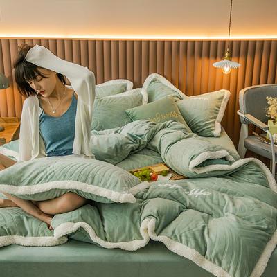 2020新品600D牛奶绒立体剪花烫花四件套 1.8m床单款四件套 梦娜-仙绿