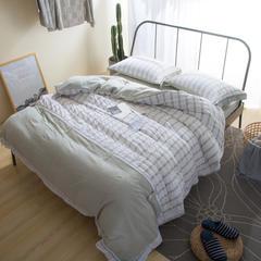 水洗泡泡纱拼色套件 1.5米床笠款 绿格