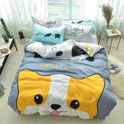 全棉平网系列四件套 床单款1.2m被套160*210 潮酷-犬