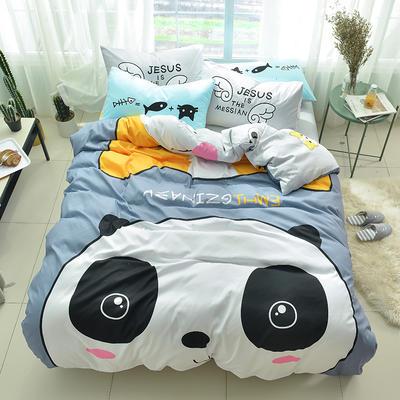 全棉平网系列四件套 床单款1.2m被套160*210 潮酷-熊