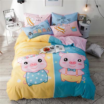 全棉平网系列四件套 床单款1.5m被套180*220 笨笨猪