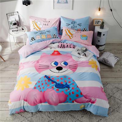 全棉平网系列四件套 床单款1.5m被套180*220 喵小姐