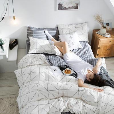 2019新款-全棉简约宜家四件套系列 床单款1.2m被套160*210 安可