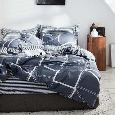 2019新款-全棉简约宜家四件套系列 床笠款1.8m被套200*230 布德