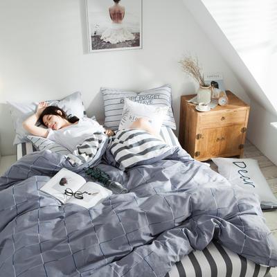 2019新款-全棉简约宜家四件套系列 床笠款1.8m被套200*230 菲拉格
