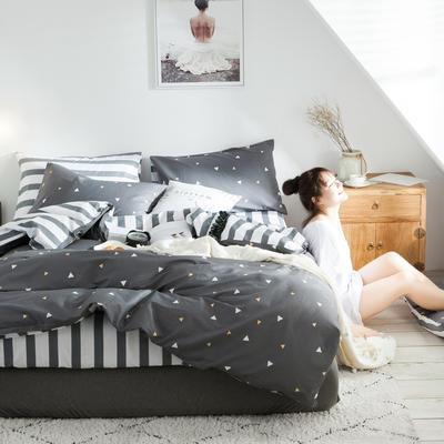 2019新款-全棉简约宜家四件套系列 床笠款1.8m被套200*230 简单的爱