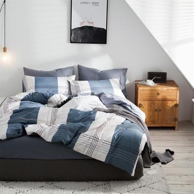 2019新款-全棉简约宜家四件套系列 床笠款1.8m被套200*230 凯希