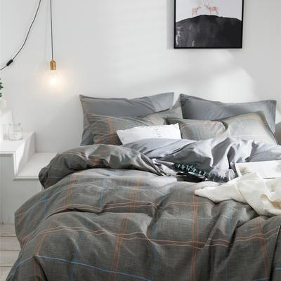 2019新款-全棉简约宜家四件套系列 床笠款1.8m被套200*230 马克斯