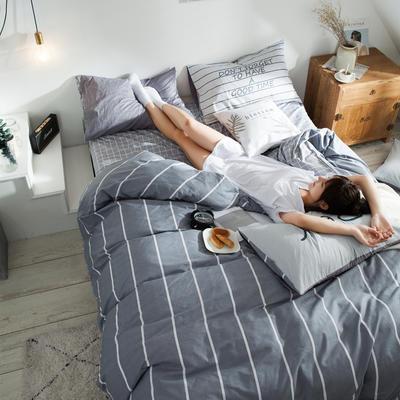 2019新款-全棉简约宜家四件套系列 床笠款1.8m被套200*230 品味青春