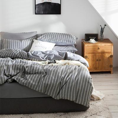2019新款-全棉简约宜家四件套系列 床笠款1.8m被套200*230 条纹时代