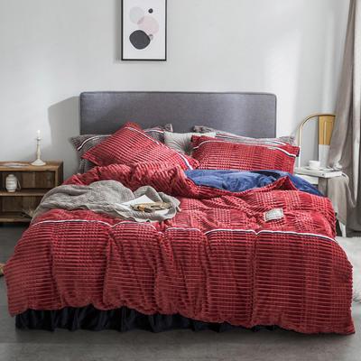 2018新款绒-立体魔法绒四件套系列 1.5m(5英尺)床 魔法绒-红色