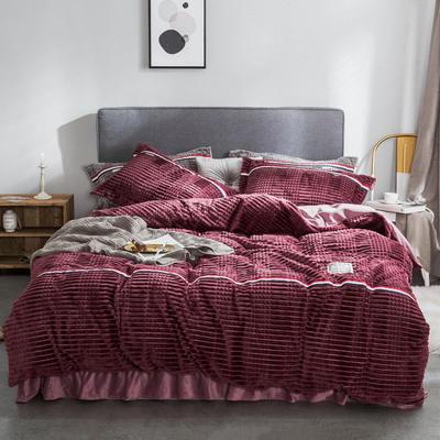 2018新款绒-立体魔法绒四件套系列 1.5m(5英尺)床 魔法绒-紫红