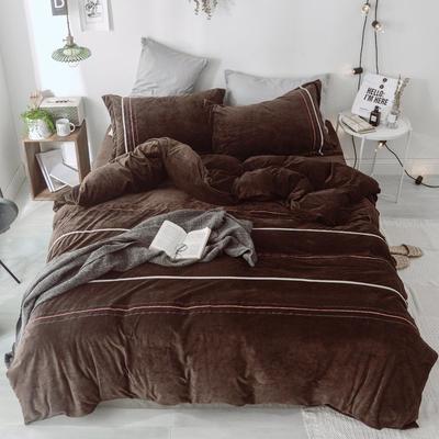 2018新款-水晶绒织秀工艺款四件套 1.5m(5英尺)床 深咖啡