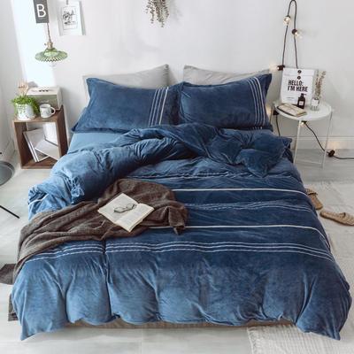 2018新款-水晶绒织秀工艺款四件套 1.5m(5英尺)床 深空蓝