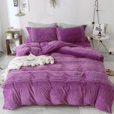 2018新款-水晶绒织秀工艺款四件套 1.5m(5英尺)床 优雅紫