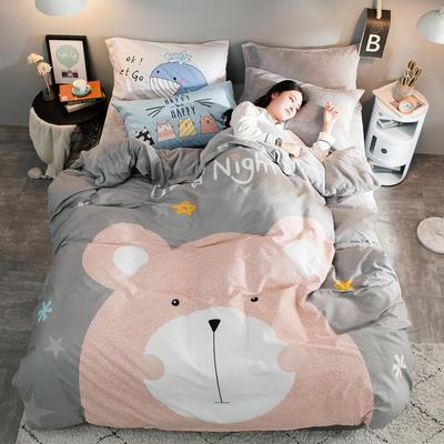 2018新款-绒-A棉大版B绒系列 三件套1.2m(4英尺)床 绒-笨笨熊