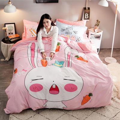 2018新款-绒-A棉大版B绒系列 三件套1.2m(4英尺)床 绒-兔宝宝