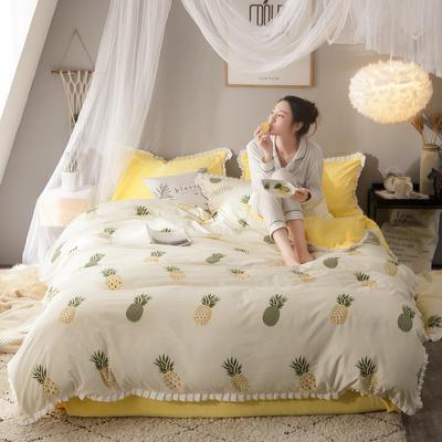 绒-A针织磨毛B绒四件套 三件套1.2m(4英尺)床 菠萝