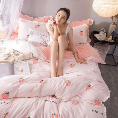 绒-A针织磨毛B绒四件套 三件套1.2m(4英尺)床 草莓