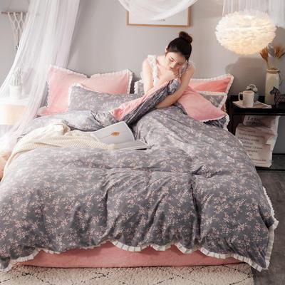 绒-A针织磨毛B绒四件套 三件套1.2m(4英尺)床 花瓣
