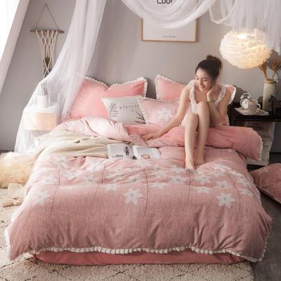 绒-A针织磨毛B绒四件套 1.5m(5英尺)床 花开半夏