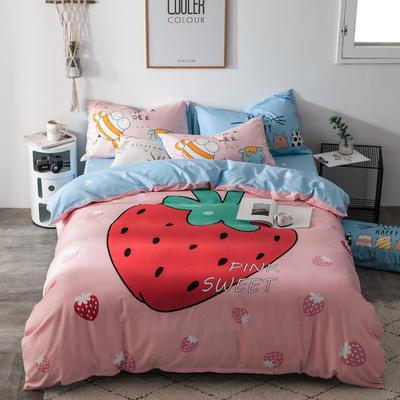 全棉平网系列四件套 床单款1.5m被套180*220 草莓