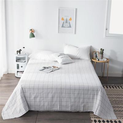 2019新款-单品全棉床单 180cmx230cm 白格子