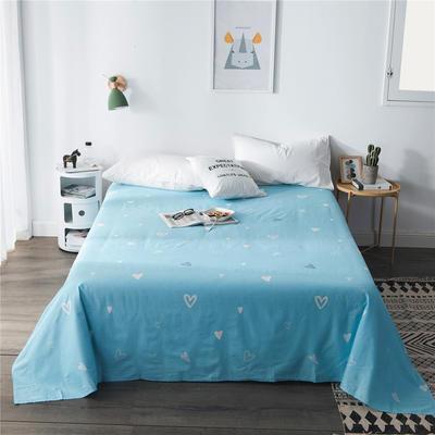 单品全棉床单 180cmx230cm 蓝色爱心