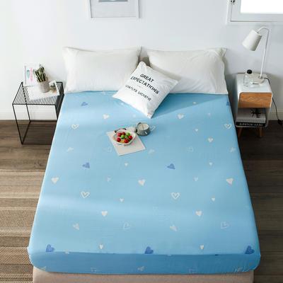 单品全棉床笠 120cmx200cm 蓝色爱心1