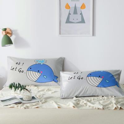 2019新款-单品大版全棉枕套 48cmX74cm/一对 蓝鲸