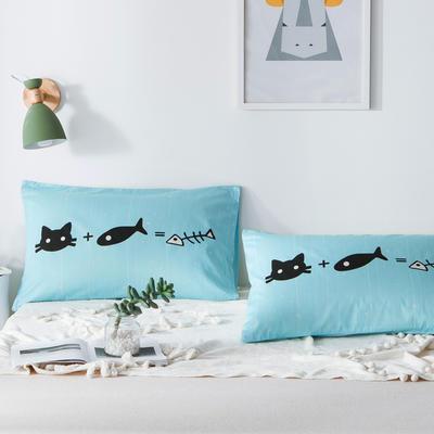 单品大版全棉枕套 48cmX74cm/一对 猫吃鱼