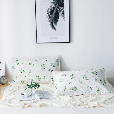 2019新款-全棉流苏单品枕套 48cmX74cm/一对 抹绿