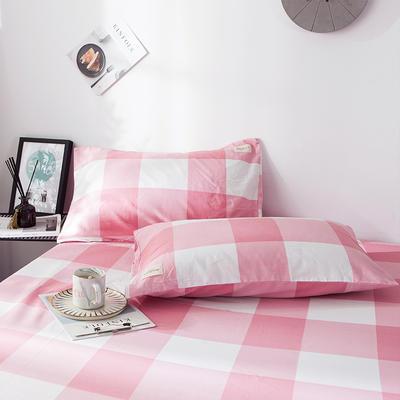 全棉织标款系列-枕套 48cmX74cm/(一对) 粉格单枕套