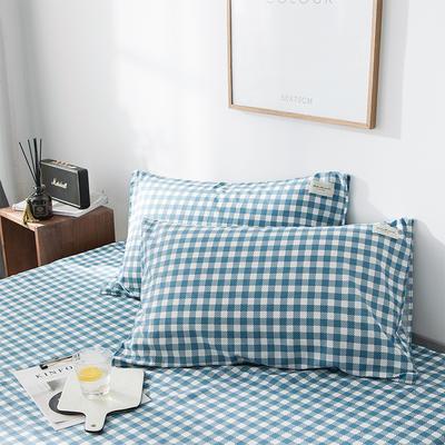 全棉织标款系列-枕套 48cmX74cm/(一对) 蓝洲单枕套